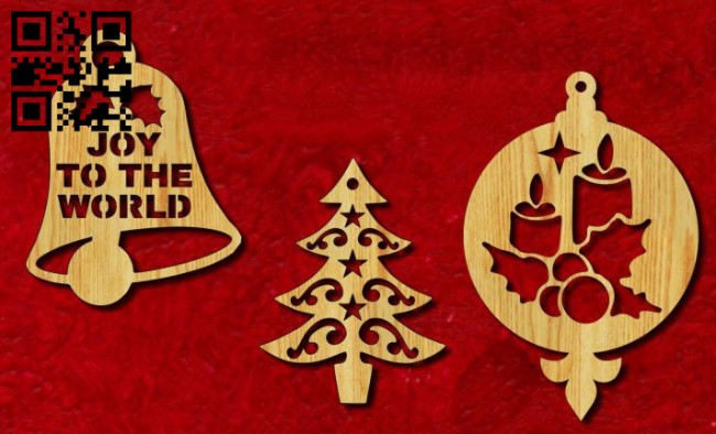 Christmas tree decoration E0015230 file cdr and dxf free vector download for laser cut