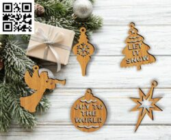 Christmas tree decoration E0015231 file cdr and dxf free vector download for laser cut