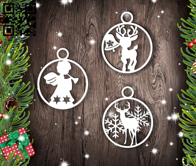 Christmas tree toys E0015259 file cdr and dxf free vector download for laser cut plasma