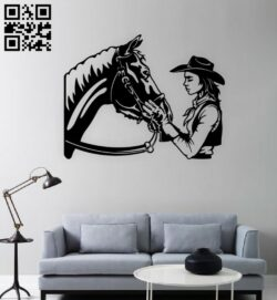 Cowgirl with horse E0015388 file cdr and dxf free vector download for laser cut plasma