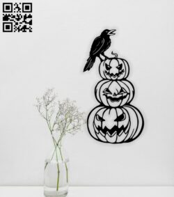 Crow with the pumpkins Halloween E0015346 file cdr and dxf free vector download for laser cut plasma