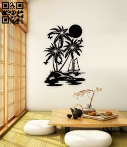 Dawn on the sea wall decor E0015274 file cdr and dxf free vector download for laser cut plasma