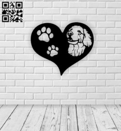 Dog with heart E0015378 file cdr and dxf free vector download for laser cut plasma