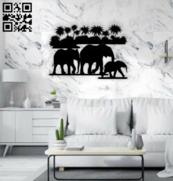 Elephants wall decor E0015267 file cdr and dxf free vector download for laser cut plasma
