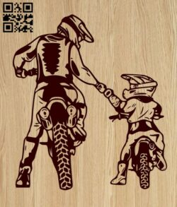 Father and Son Motocross E0015384 file cdr and dxf free vector download for laser engraving machine