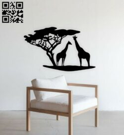 Giraffe wall decor  E0015374 file cdr and dxf free vector download for laser cut plasma