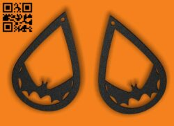 Halloween bat earring E0015308 file cdr and dxf free vector download for laser cut plasma