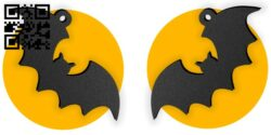 Halloween bat moon earring E0015315 file cdr and dxf free vector download for laser cut plasma
