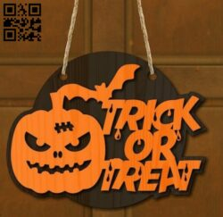 Halloween door decor E0015351 file cdr and dxf free vector download for laser cut