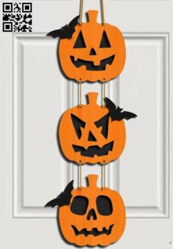 Halloween door decoration E0015263 file cdr and dxf free vector download for laser cut