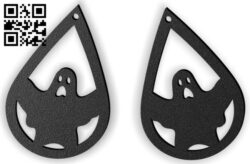 Halloween ghost earring E0015310 file cdr and dxf free vector download for laser cut plasma