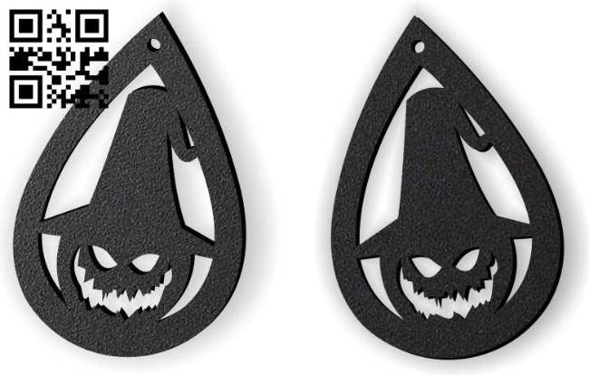 Halloween pumpkin earring E0015236 file cdr and dxf free vector download for laser cut plasma