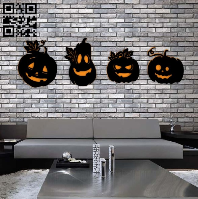 Halloween pumpkins E0015246 file cdr and dxf free vector download for laser cut plasma