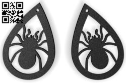 Halloween spider earring E0015239 file cdr and dxf free vector download for laser cut plasma