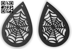 Halloween spider web earring E0015312 file cdr and dxf free vector download for laser cut plasma