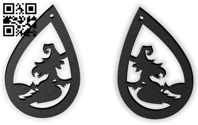 Halloween witch earring E0015238 file cdr and dxf free vector download for laser cut plasma