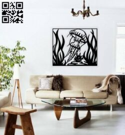 Jellyfish wall decor E0015271 file cdr and dxf free vector download for laser cut plasma