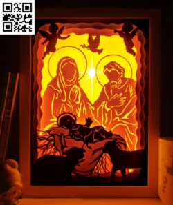 Jesus Christmas light box E0015256 file cdr and dxf free vector download for laser cut