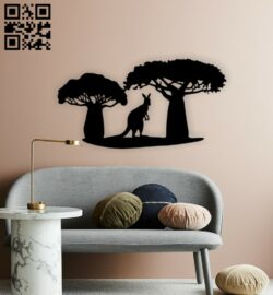 Kangaroo wall decor E0015373 file cdr and dxf free vector download for laser cut plasma