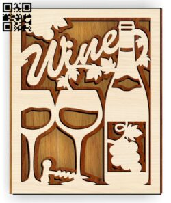Layer wine E0015232 file cdr and dxf free vector download for laser cut