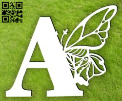Letter A with butterfly E0015395 file cdr and dxf free vector download for laser cut plasma