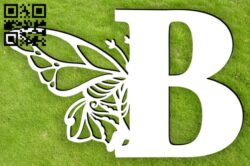 Letter B with butterfly E0015396 file cdr and dxf free vector download for laser cut plasma