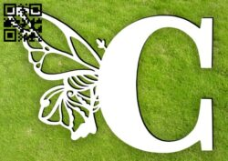 Letter C with butterfly E0015397 file cdr and dxf free vector download for laser cut plasma