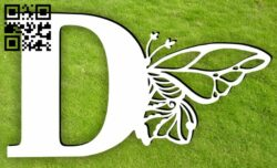 Letter D with butterfly E0015398 file cdr and dxf free vector download for laser cut plasma