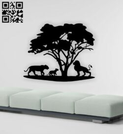 Lion familly wall decor E0015375 file cdr and dxf free vector download for laser cut plasma