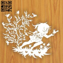 Little girl with birds E0015369 file cdr and dxf free vector download for laser cut