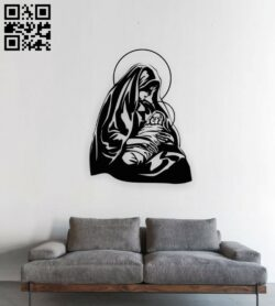 Mary holding baby Jesus E0015385 file cdr and dxf free vector download for laser cut plasma