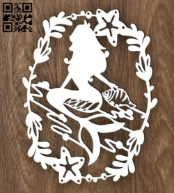 Mermaid E0015399 file cdr and dxf free vector download for laser cut plasma