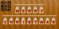Merry Christmas bell E0015260 file cdr and dxf free vector download for laser cut plasma