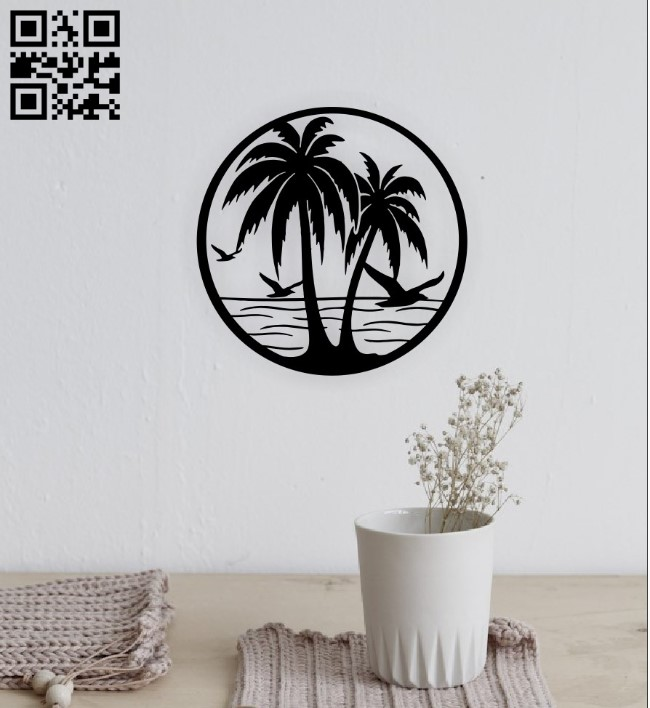 Palm scene E0015245 file cdr and dxf free vector download for laser cut plasma