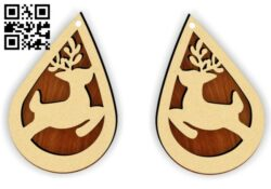 Reindeer earring E0015325 file cdr and dxf free vector download for laser cut plasma