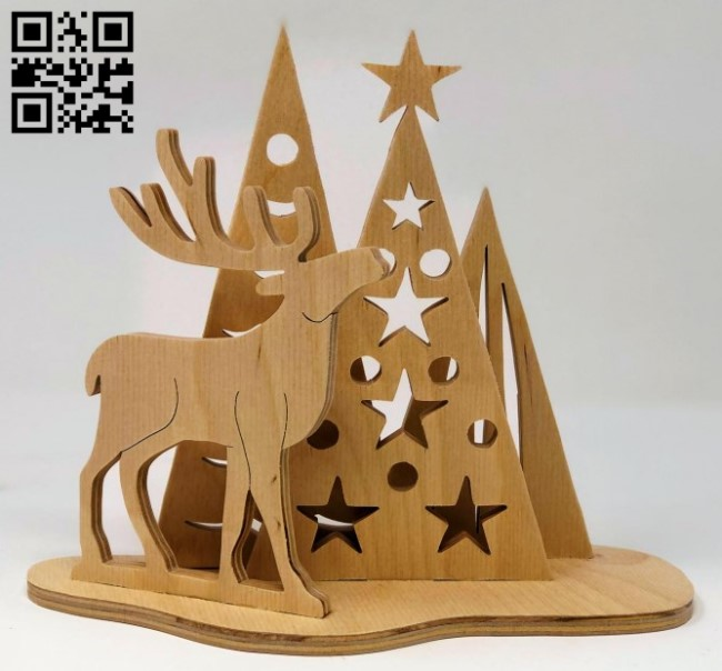 Reindeer tree E0015262 file cdr and dxf free vector download for laser cut