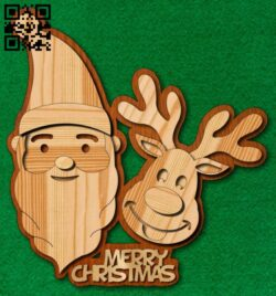 Santa and reindeer E0015319 file cdr and dxf free vector download for laser cut plasma