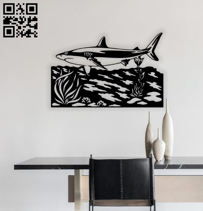 Shark wall decor E0015272 file cdr and dxf free vector download for laser cut plasma