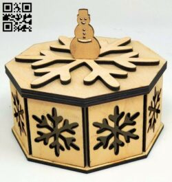 Snow flake box E0015226 file cdr and dxf free vector download for laser cut