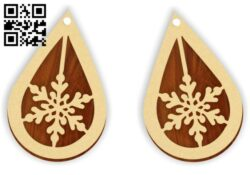 Snowflake earring E0015324 file cdr and dxf free vector download for laser cut plasma