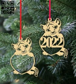 Tiger Christmas decor E0015342 file cdr and dxf free vector download for laser cut plasma