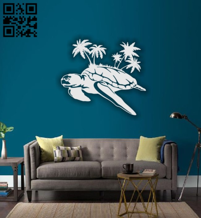 Turtle with palms E0015266 file cdr and dxf free vector download for laser cut plasma