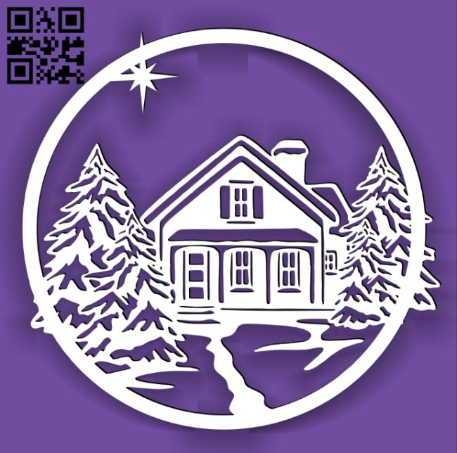 Winter scene Christmas E0015241 file cdr and dxf free vector download for laser cut plasma